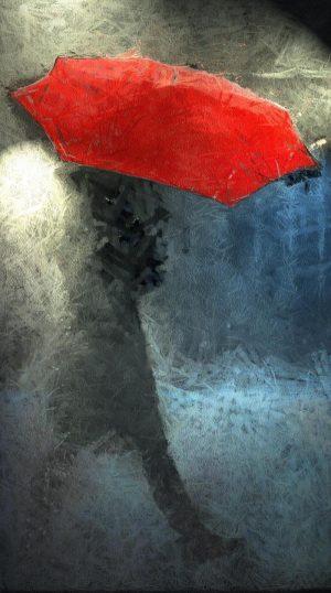 Charcoal Art - Walker In The Rain by Stephan J Myers